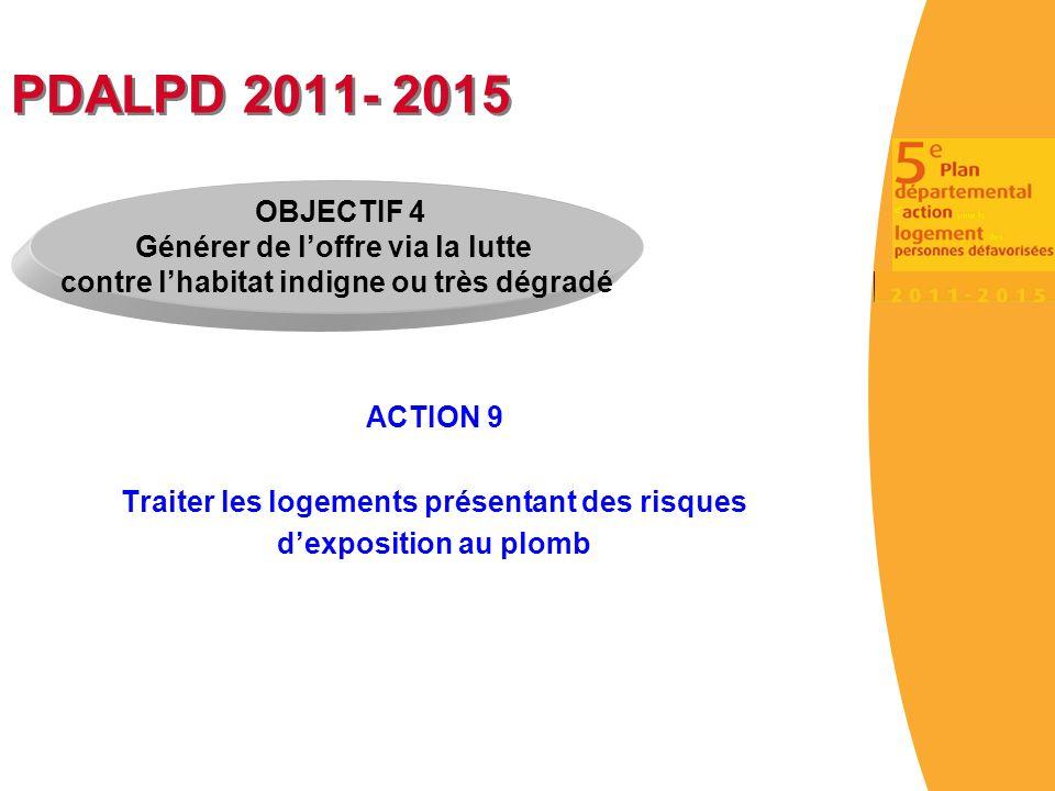 PDALPD 2011- 2015 ACTION 9 Traiter les logements présentant des risques dexposition au plomb OBJECTIF 4 Générer de loffre via la lutte contre lhabitat indigne ou très dégradé