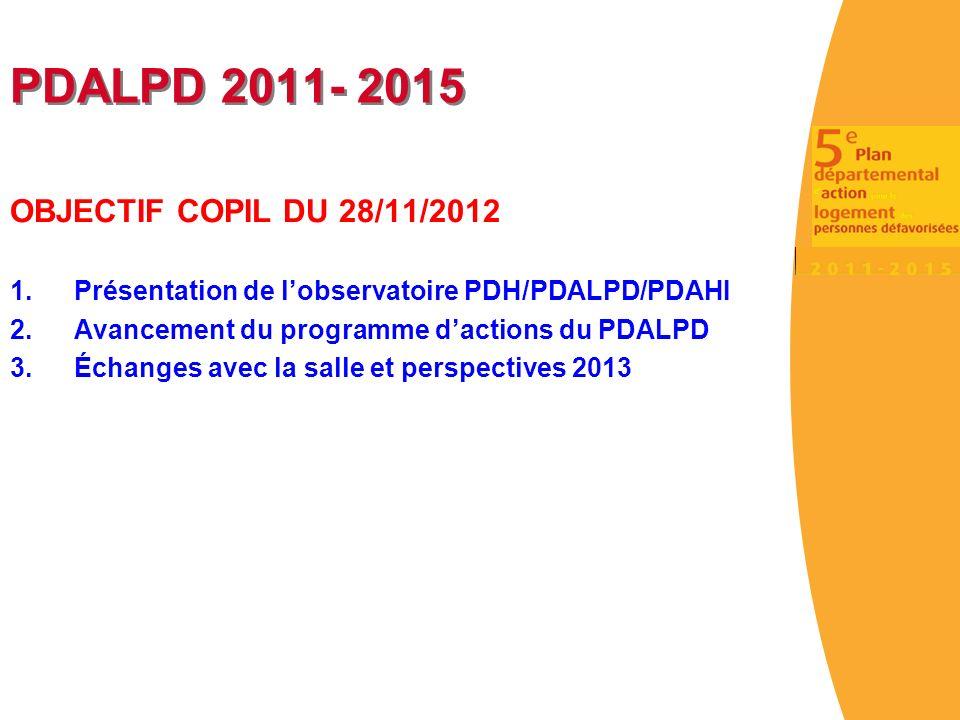 PDALPD 2011- 2015 OBJECTIF COPIL DU 28/11/2012 1.Présentation de lobservatoire PDH/PDALPD/PDAHI 2.Avancement du programme dactions du PDALPD 3.Échanges avec la salle et perspectives 2013
