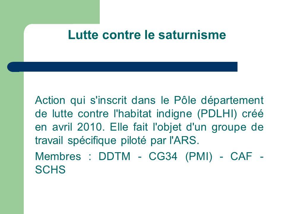 Lutte contre le saturnisme Action qui s inscrit dans le Pôle département de lutte contre l habitat indigne (PDLHI) créé en avril 2010.