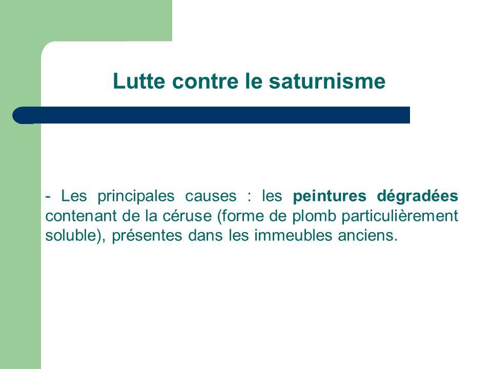 Lutte contre le saturnisme - Les principales causes : les peintures dégradées contenant de la céruse (forme de plomb particulièrement soluble), présentes dans les immeubles anciens.