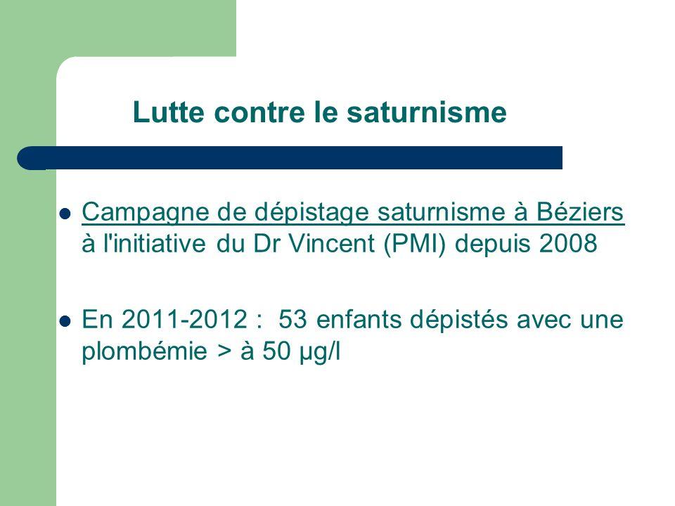 Lutte contre le saturnisme Campagne de dépistage saturnisme à Béziers à l initiative du Dr Vincent (PMI) depuis 2008 En 2011-2012 : 53 enfants dépistés avec une plombémie > à 50 µg/l