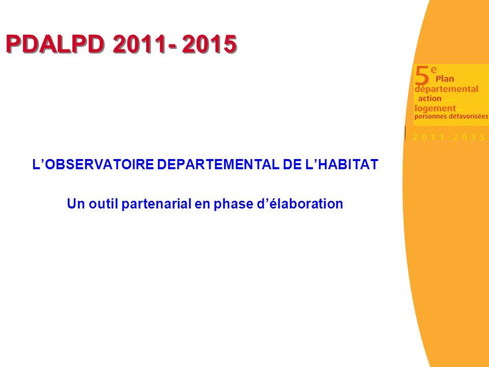 PDALPD 2011- 2015 LOBSERVATOIRE DEPARTEMENTAL DE LHABITAT Un outil partenarial en phase délaboration