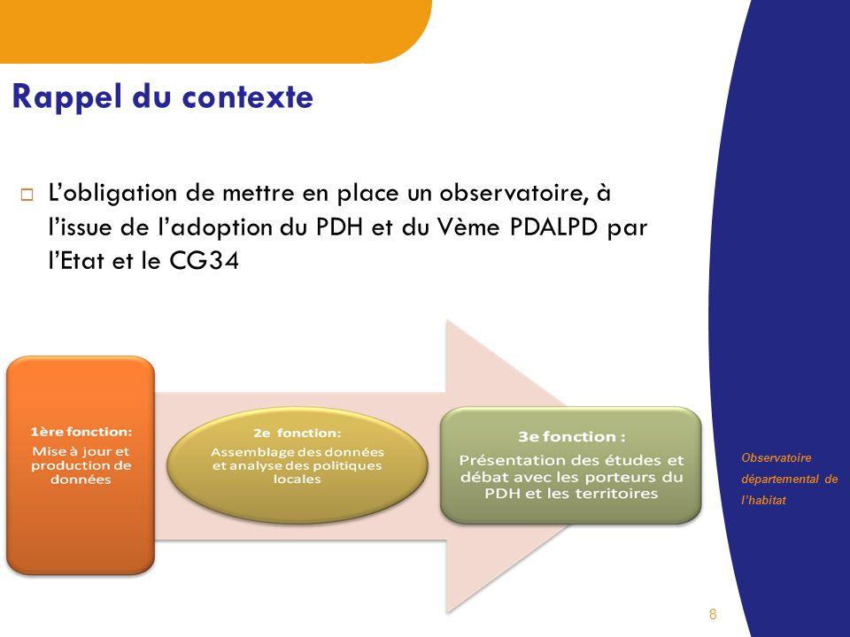 Observatoire départemental de lhabitat 8 Rappel du contexte Lobligation de mettre en place un observatoire, à lissue de ladoption du PDH et du Vème PDALPD par lEtat et le CG34