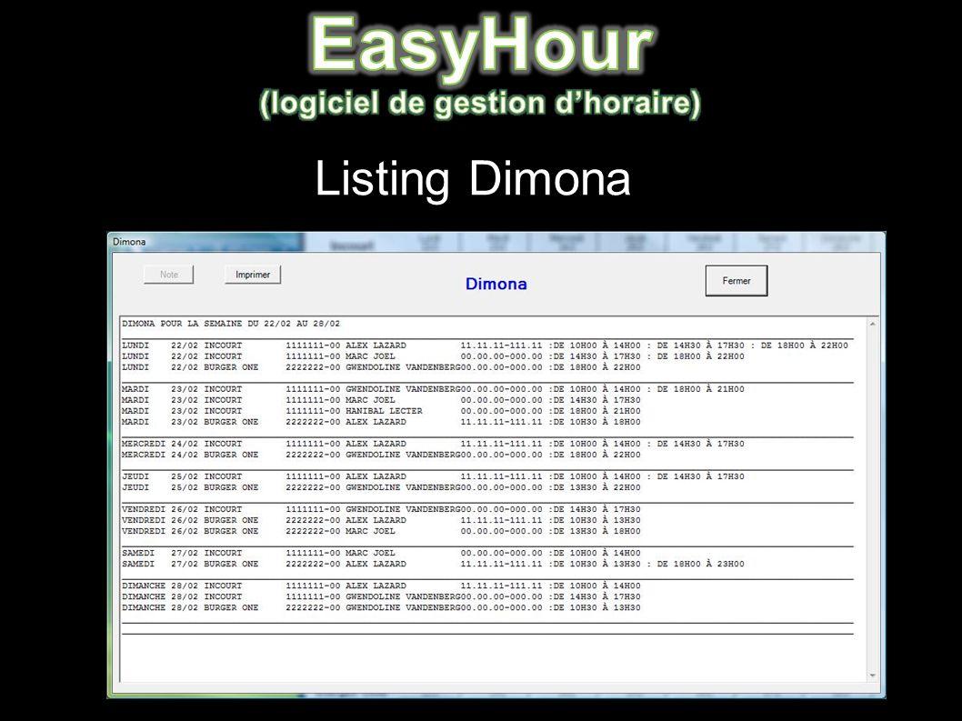 Listing Dimona
