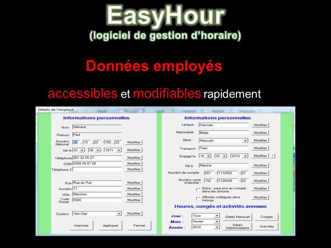 Données employés accessibles et modifiables rapidement