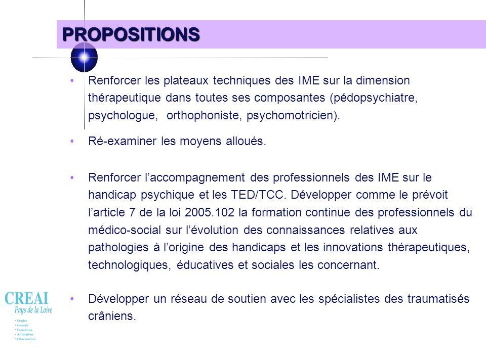 21 PROPOSITIONS Renforcer les plateaux techniques des IME sur la dimension thérapeutique dans toutes ses composantes (pédopsychiatre, psychologue, ort