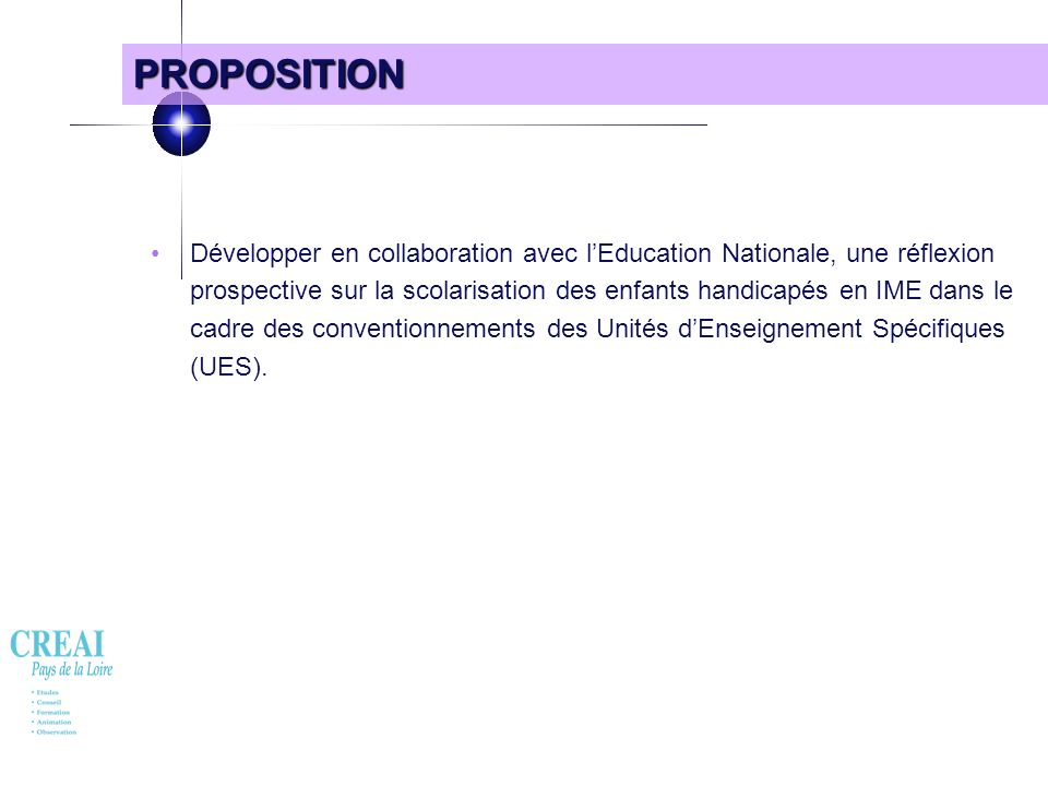 24 PROPOSITION Développer en collaboration avec lEducation Nationale, une réflexion prospective sur la scolarisation des enfants handicapés en IME dan