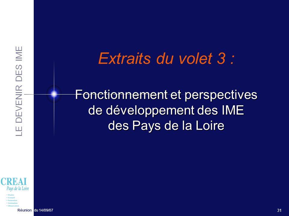 LE DEVENIR DES IME Réunion du 14/09/07 31 Fonctionnement et perspectives de développement des IME des Pays de la Loire Extraits du volet 3 : Fonctionn