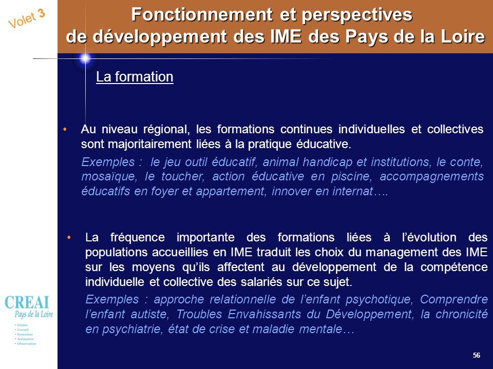 56 Volet 3 Fonctionnement et perspectives de développement des IME des Pays de la Loire La formation Au niveau régional, les formations continues indi