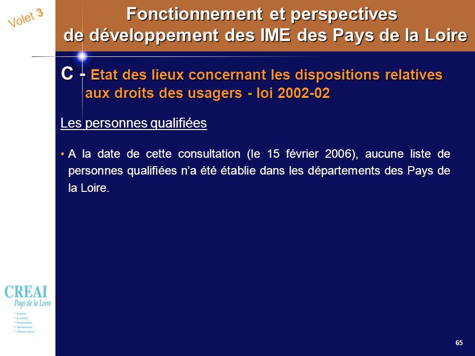 65 Volet 3 Fonctionnement et perspectives de développement des IME des Pays de la Loire C - Etat des lieux concernant les dispositions relatives aux d