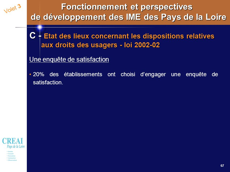 67 Volet 3 Fonctionnement et perspectives de développement des IME des Pays de la Loire C - Etat des lieux concernant les dispositions relatives aux d