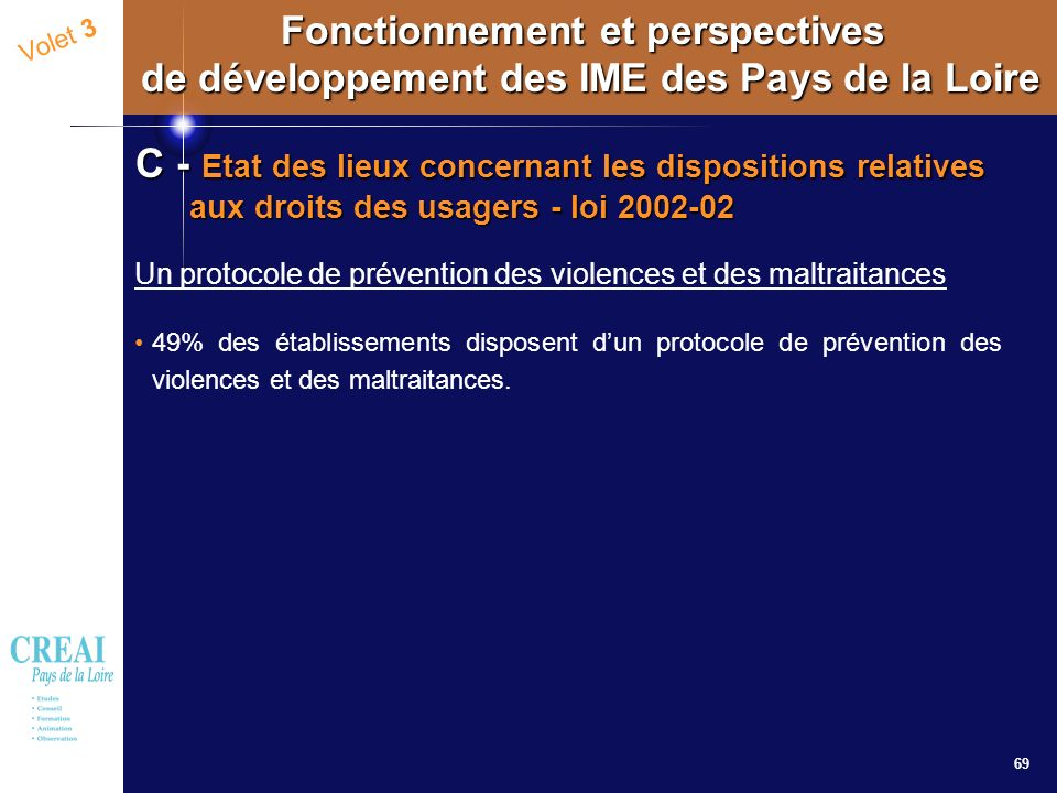 69 Volet 3 Fonctionnement et perspectives de développement des IME des Pays de la Loire C - Etat des lieux concernant les dispositions relatives aux d