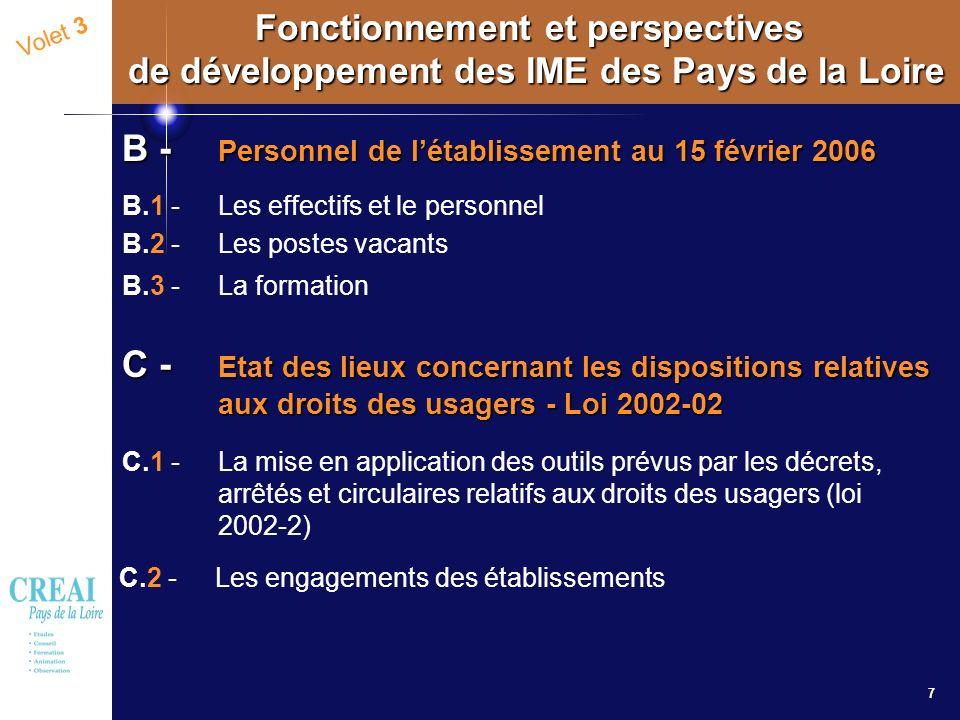 7 Volet 3 Fonctionnement et perspectives de développement des IME des Pays de la Loire B - Personnel de létablissement au 15 février 2006 B.1 - Les ef