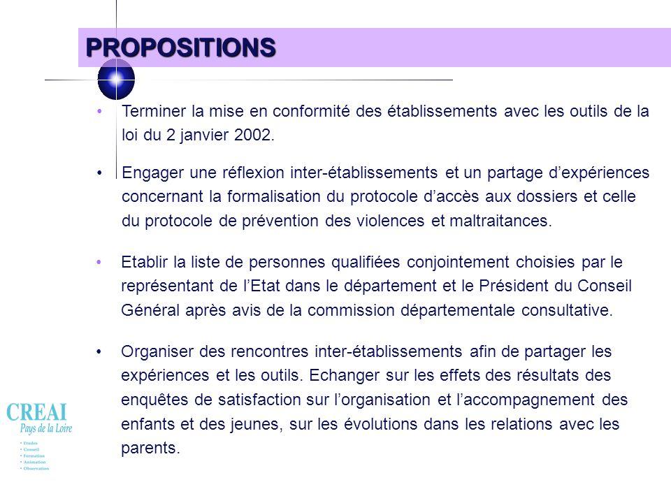 71 PROPOSITIONS Terminer la mise en conformité des établissements avec les outils de la loi du 2 janvier 2002. Engager une réflexion inter-établisseme