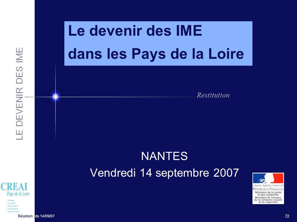LE DEVENIR DES IME Réunion du 14/09/07 72 NANTES Vendredi 14 septembre 2007 Le devenir des IME dans les Pays de la Loire Restitution