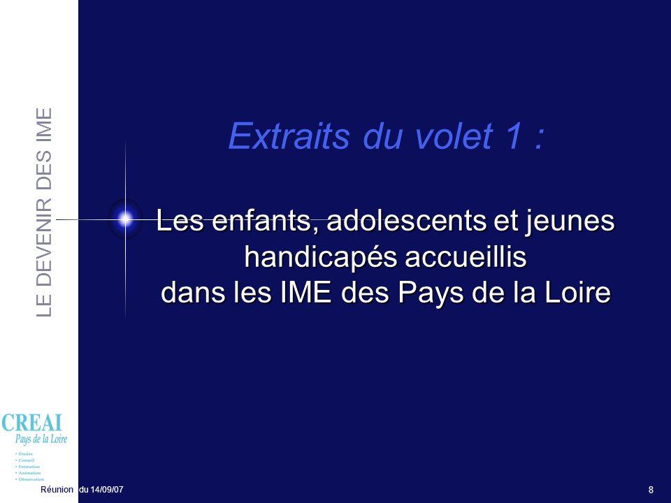 LE DEVENIR DES IME Réunion du 14/09/07 8 Les enfants, adolescents et jeunes handicapés accueillis dans les IME des Pays de la Loire Extraits du volet