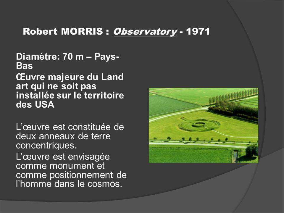 Robert MORRIS : Observatory - 1971 Diamètre: 70 m – Pays- Bas Œuvre majeure du Land art qui ne soit pas installée sur le territoire des USA Lœuvre est constituée de deux anneaux de terre concentriques.