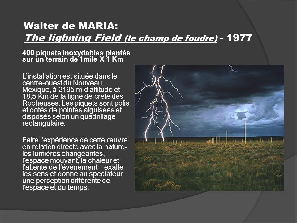 Walter de MARIA: The lighning Field (le champ de foudre) - 1977 400 piquets inoxydables plantés sur un terrain de 1mile X 1 Km Linstallation est située dans le centre-ouest du Nouveau Mexique, à 2195 m daltitude et 18,5 Km de la ligne de crête des Rocheuses.