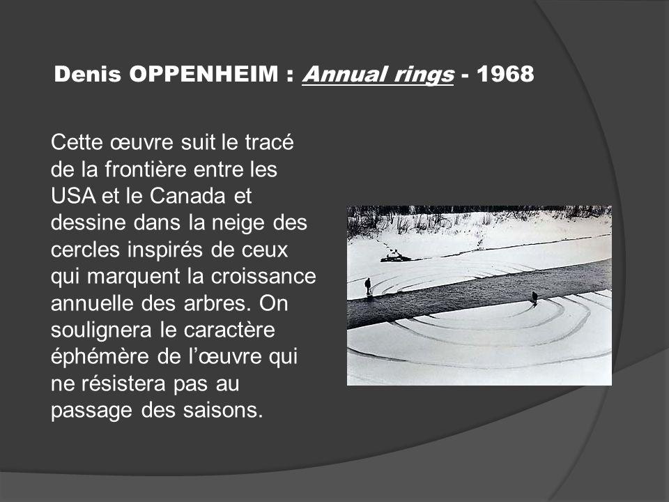 Denis OPPENHEIM : Annual rings - 1968 Cette œuvre suit le tracé de la frontière entre les USA et le Canada et dessine dans la neige des cercles inspirés de ceux qui marquent la croissance annuelle des arbres.