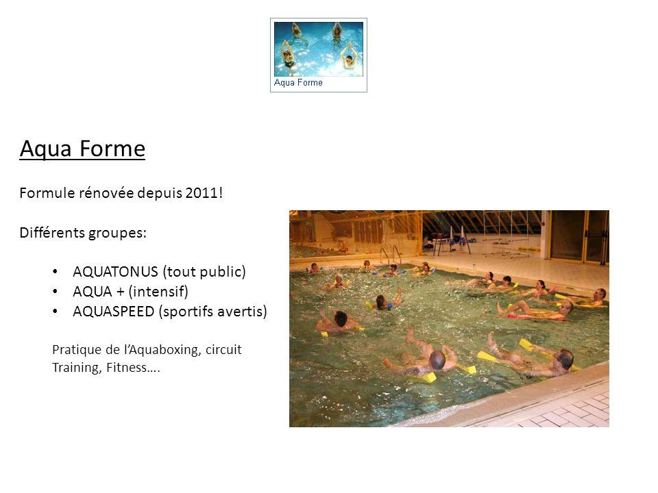 Aqua Forme Formule rénovée depuis 2011! Différents groupes: AQUATONUS (tout public) AQUA + (intensif) AQUASPEED (sportifs avertis) Pratique de lAquabo