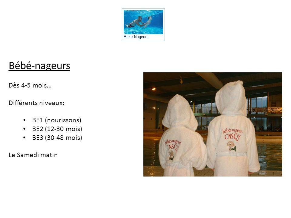 Bébé-nageurs Dès 4-5 mois… Différents niveaux: BE1 (nourissons) BE2 (12-30 mois) BE3 (30-48 mois) Le Samedi matin