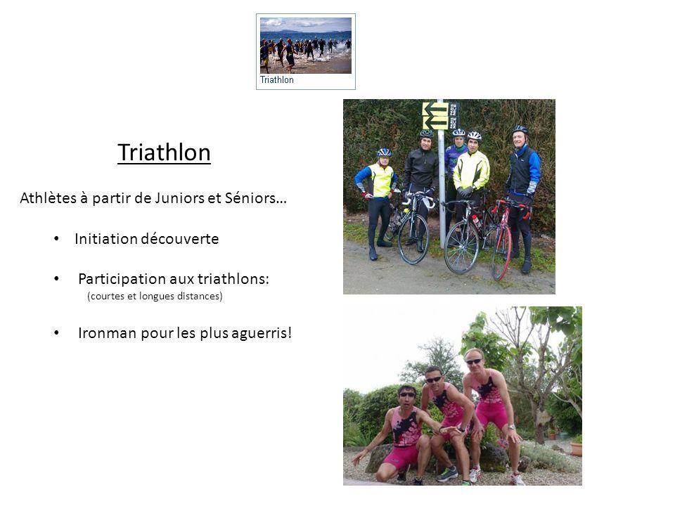 Triathlon Athlètes à partir de Juniors et Séniors… Initiation découverte Participation aux triathlons: (courtes et longues distances) Ironman pour les