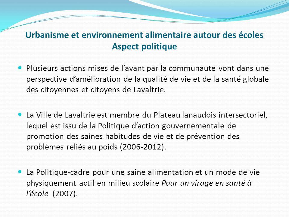 Urbanisme et environnement alimentaire autour des écoles Aspect politique Plusieurs actions mises de lavant par la communauté vont dans une perspective damélioration de la qualité de vie et de la santé globale des citoyennes et citoyens de Lavaltrie.