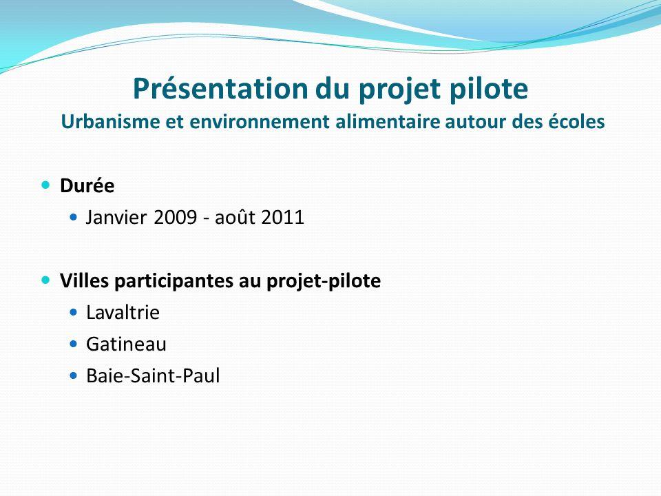 Présentation du projet pilote Urbanisme et environnement alimentaire autour des écoles Durée Janvier 2009 - août 2011 Villes participantes au projet-pilote Lavaltrie Gatineau Baie-Saint-Paul