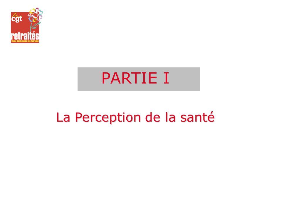 PARTIE I La Perception de la santé
