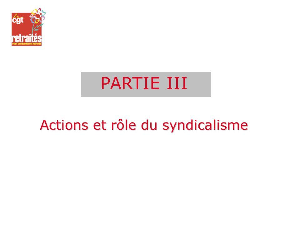 PARTIE III Actions et rôle du syndicalisme