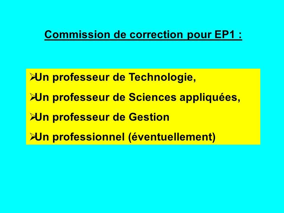 Commission de correction pour EP1 : Un professeur de Technologie, Un professeur de Sciences appliquées, Un professeur de Gestion Un professionnel (éve