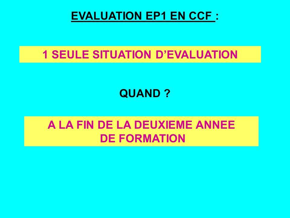 EVALUATION EP1 EN CCF : QUAND ? 1 SEULE SITUATION DEVALUATION A LA FIN DE LA DEUXIEME ANNEE DE FORMATION