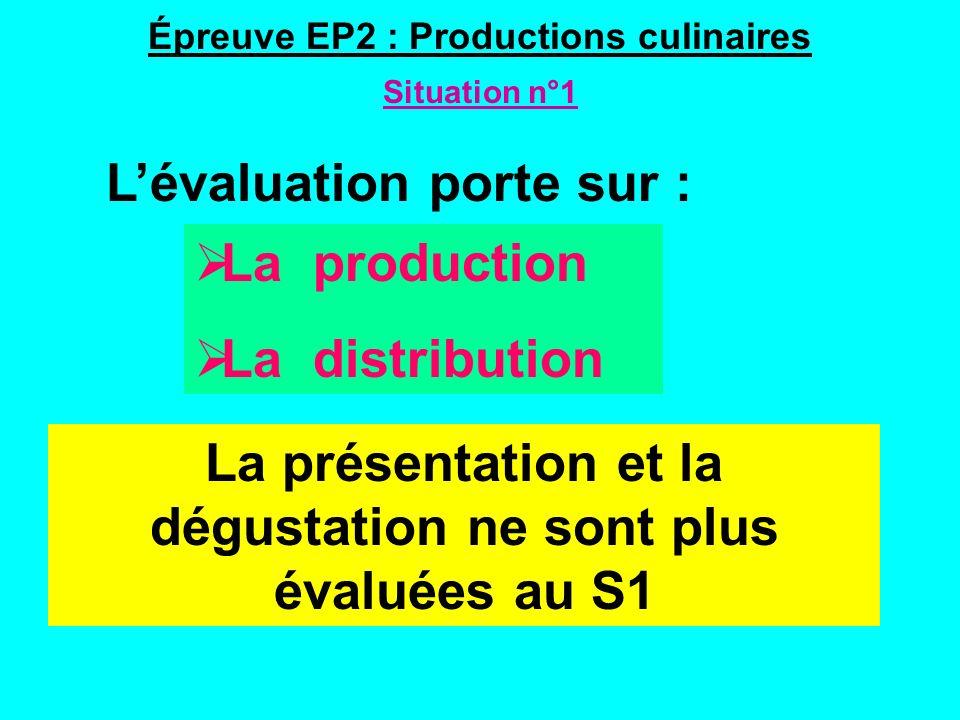Épreuve EP2 : Productions culinaires Situation n°1 Lévaluation porte sur : La présentation et la dégustation ne sont plus évaluées au S1 La production La distribution