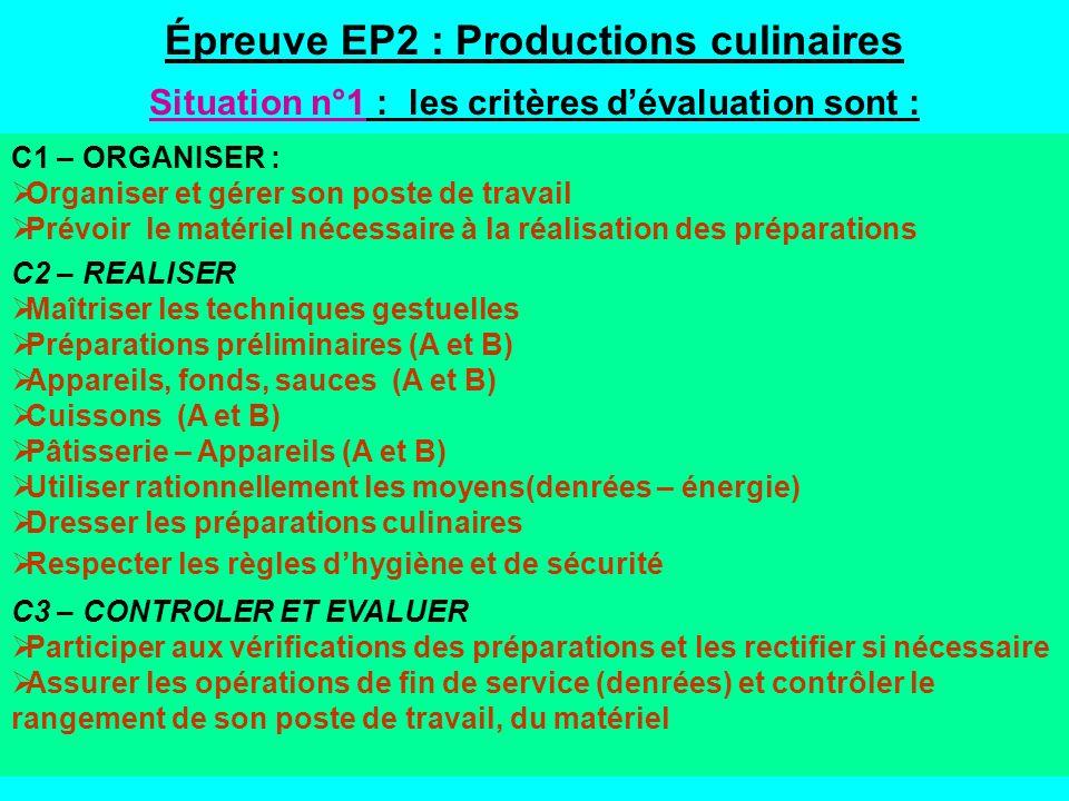 Épreuve EP2 : Productions culinaires Situation n°1 : les critères dévaluation sont : C1 – ORGANISER : Organiser et gérer son poste de travail Prévoir le matériel nécessaire à la réalisation des préparations C2 – REALISER Maîtriser les techniques gestuelles Préparations préliminaires (A et B) Appareils, fonds, sauces (A et B) Cuissons (A et B) Pâtisserie – Appareils (A et B) Utiliser rationnellement les moyens(denrées – énergie) Dresser les préparations culinaires Respecter les règles dhygiène et de sécurité C3 – CONTROLER ET EVALUER Participer aux vérifications des préparations et les rectifier si nécessaire Assurer les opérations de fin de service (denrées) et contrôler le rangement de son poste de travail, du matériel