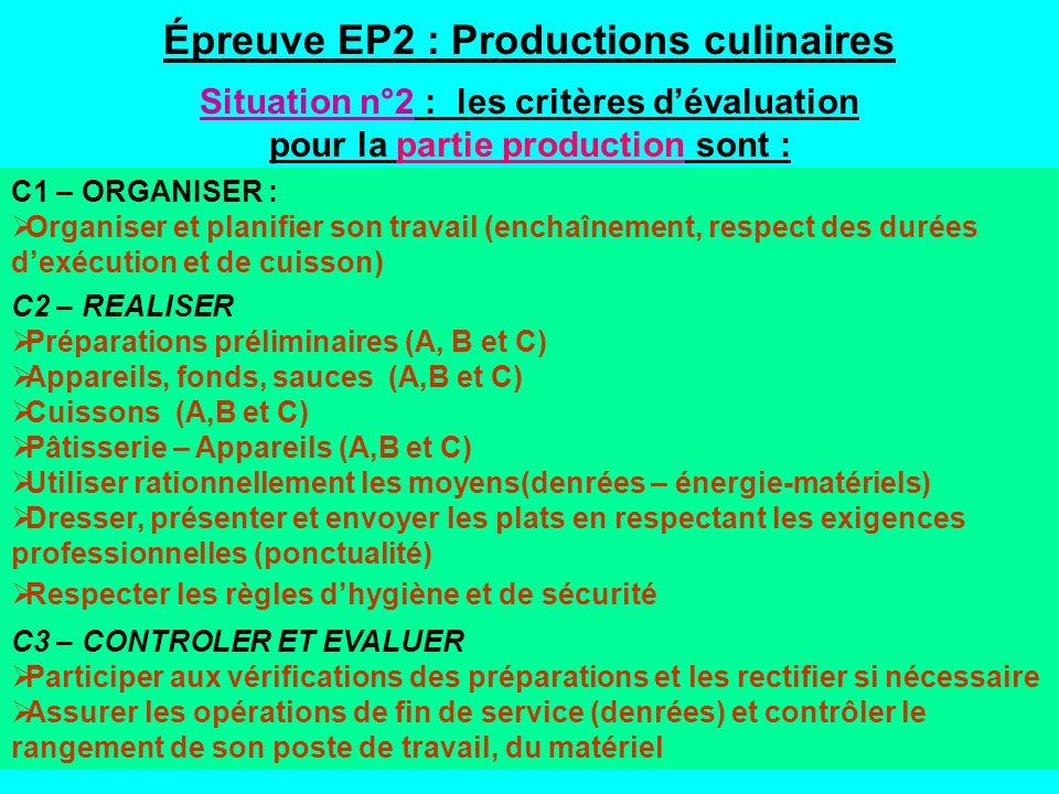 Épreuve EP2 : Productions culinaires Situation n°2 : les critères dévaluation pour la partie production sont : C1 – ORGANISER : Organiser et planifier son travail (enchaînement, respect des durées dexécution et de cuisson) C2 – REALISER Préparations préliminaires (A, B et C) Appareils, fonds, sauces (A,B et C) Cuissons (A,B et C) Pâtisserie – Appareils (A,B et C) Utiliser rationnellement les moyens(denrées – énergie-matériels) Dresser, présenter et envoyer les plats en respectant les exigences professionnelles (ponctualité) Respecter les règles dhygiène et de sécurité C3 – CONTROLER ET EVALUER Participer aux vérifications des préparations et les rectifier si nécessaire Assurer les opérations de fin de service (denrées) et contrôler le rangement de son poste de travail, du matériel