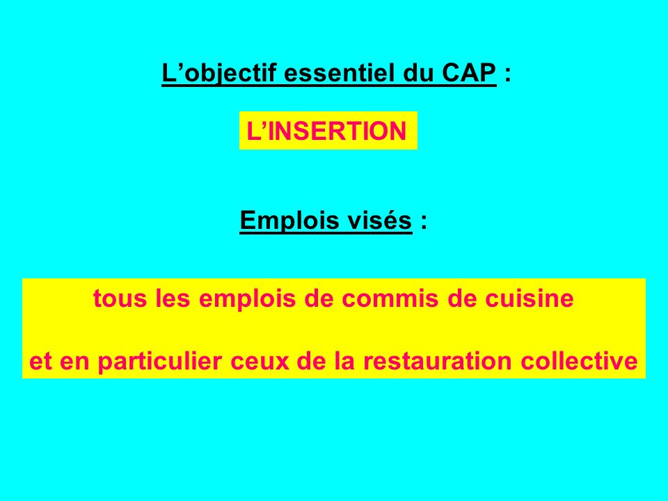 Lobjectif essentiel du CAP : Emplois visés : LINSERTION tous les emplois de commis de cuisine et en particulier ceux de la restauration collective