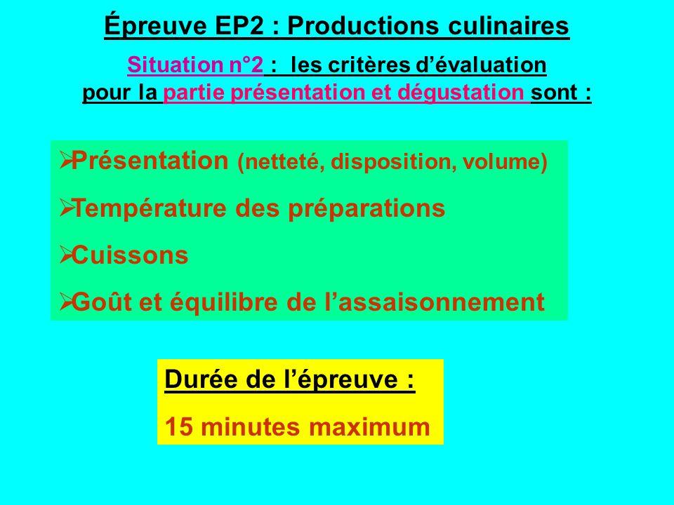Présentation (netteté, disposition, volume) Température des préparations Cuissons Goût et équilibre de lassaisonnement Durée de lépreuve : 15 minutes