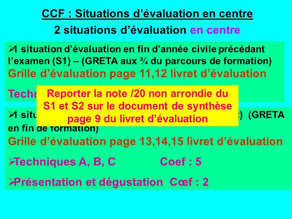 CCF : Situations dévaluation en centre 2 situations dévaluation en centre 1 situation dévaluation en fin de 2ème année (S2) (GRETA en fin de formation) Grille dévaluation page 13,14,15 livret dévaluation Techniques A, B, C Coef : 5 Présentation et dégustation Cœf : 2 1 situation dévaluation en fin dannée civile précédant lexamen (S1) – (GRETA aux ¾ du parcours de formation) Grille dévaluation page 11,12 livret dévaluation Techniques A, B Coef : 2 Reporter la note /20 non arrondie du S1 et S2 sur le document de synthèse page 9 du livret dévaluation