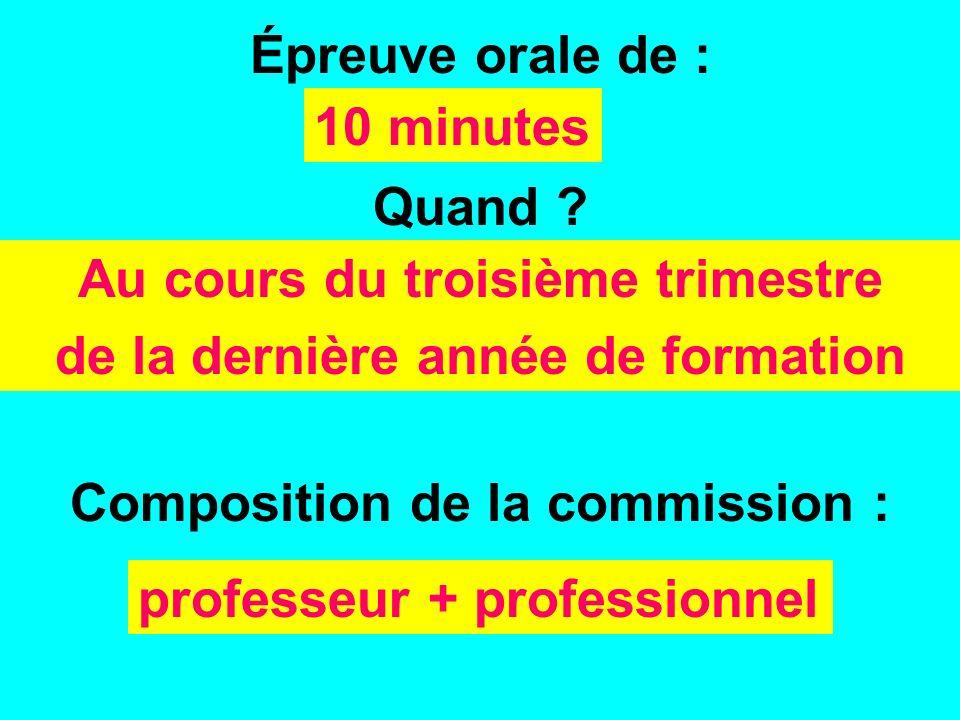 Épreuve orale de : Composition de la commission : 10 minutes professeur + professionnel Quand ? Au cours du troisième trimestre de la dernière année d