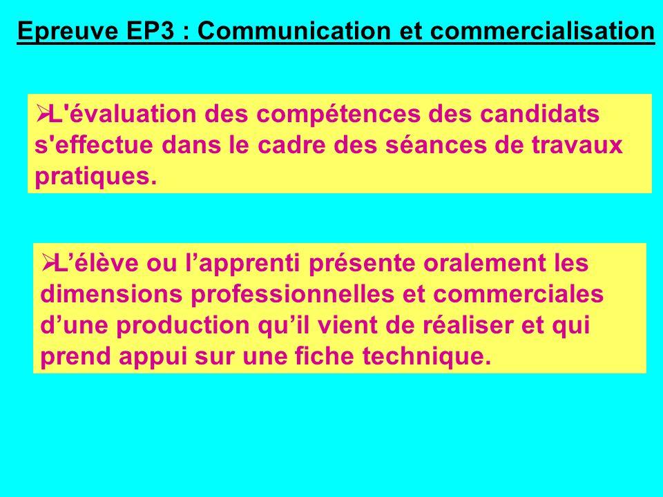 Epreuve EP3 : Communication et commercialisation L évaluation des compétences des candidats s effectue dans le cadre des séances de travaux pratiques.