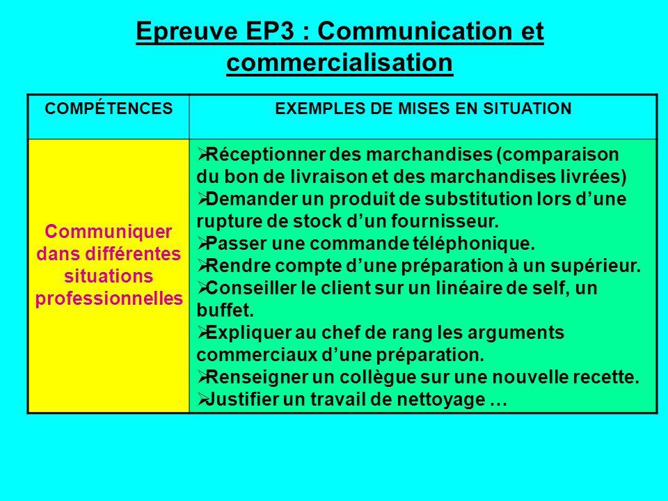 Epreuve EP3 : Communication et commercialisation COMPÉTENCESEXEMPLES DE MISES EN SITUATION Communiquer dans différentes situations professionnelles Ré