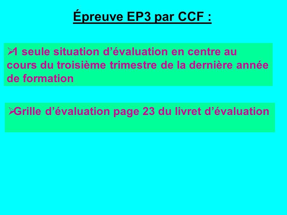 Épreuve EP3 par CCF : Grille dévaluation page 23 du livret dévaluation 1 seule situation dévaluation en centre au cours du troisième trimestre de la dernière année de formation