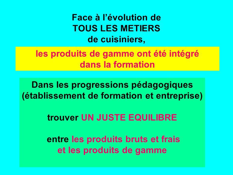 Face à lévolution de TOUS LES METIERS de cuisiniers, Dans les progressions pédagogiques (établissement de formation et entreprise) trouver UN JUSTE EQUILIBRE entre les produits bruts et frais et les produits de gamme les produits de gamme ont été intégré dans la formation