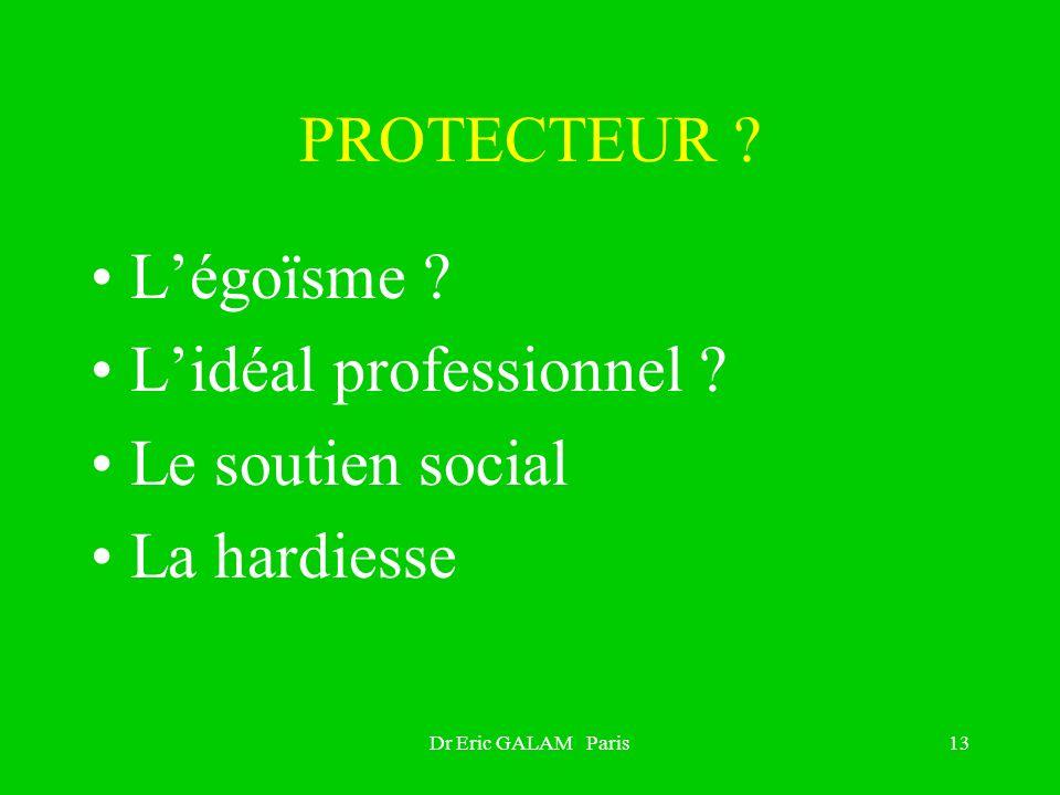 PROTECTEUR ? Légoïsme ? Lidéal professionnel ? Le soutien social La hardiesse Dr Eric GALAM Paris13