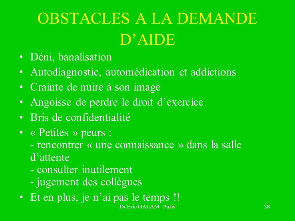 Dr Eric GALAM Paris28 OBSTACLES A LA DEMANDE DAIDE Déni, banalisation Autodiagnostic, automédication et addictions Crainte de nuire à son image Angois
