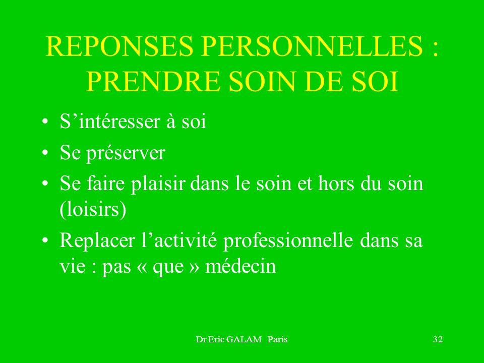 Dr Eric GALAM Paris32 REPONSES PERSONNELLES : PRENDRE SOIN DE SOI Sintéresser à soi Se préserver Se faire plaisir dans le soin et hors du soin (loisir