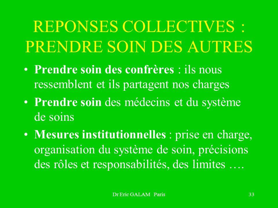 Dr Eric GALAM Paris33 REPONSES COLLECTIVES : PRENDRE SOIN DES AUTRES Prendre soin des confrères : ils nous ressemblent et ils partagent nos charges Pr