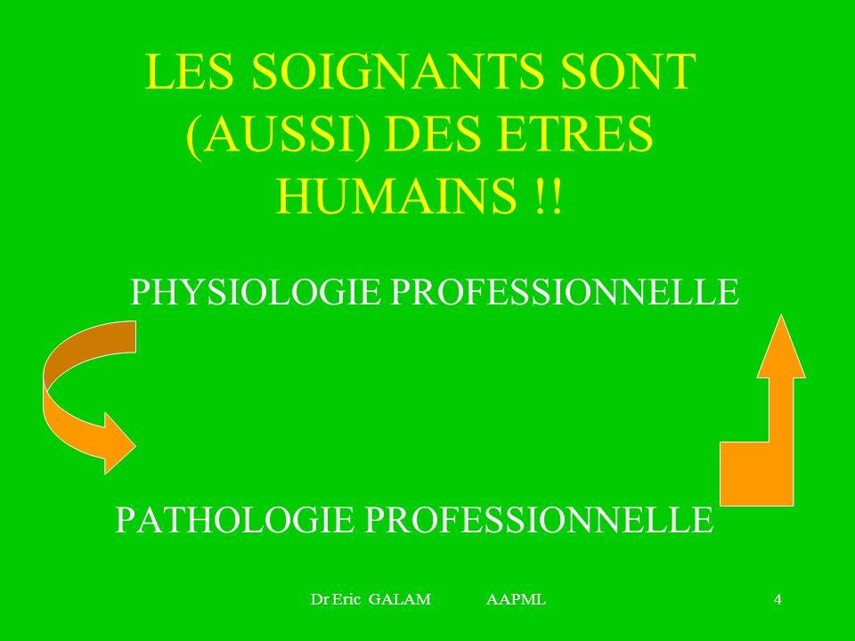Dr Eric GALAM AAPML4 LES SOIGNANTS SONT (AUSSI) DES ETRES HUMAINS !! PHYSIOLOGIE PROFESSIONNELLE PATHOLOGIE PROFESSIONNELLE