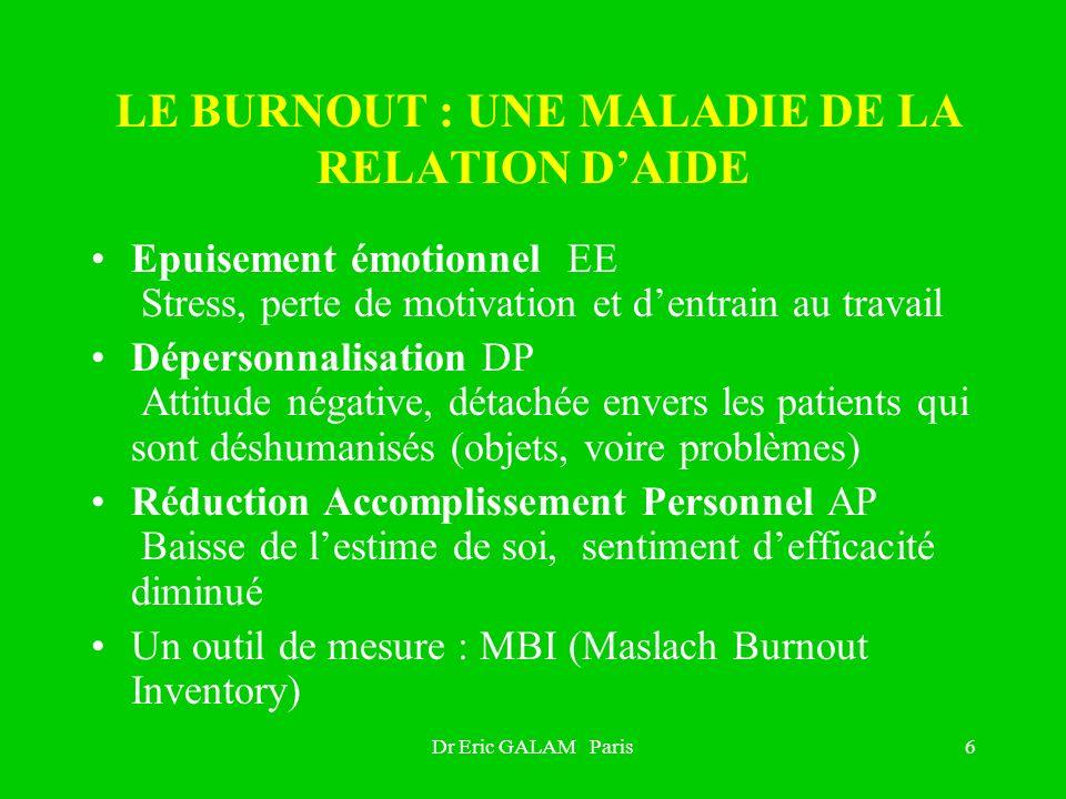 Dr Eric GALAM Paris6 LE BURNOUT : UNE MALADIE DE LA RELATION DAIDE Epuisement émotionnel EE Stress, perte de motivation et dentrain au travail Déperso