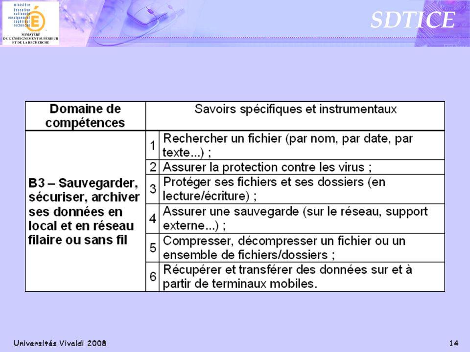 Universités Vivaldi 2008 14 SDTICE